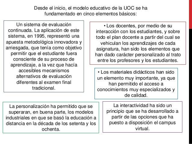 Desde el inicio, el modelo educativo de la UOC se ha fundamentado en cinco elementos básicos: • Los docentes, por medio de...