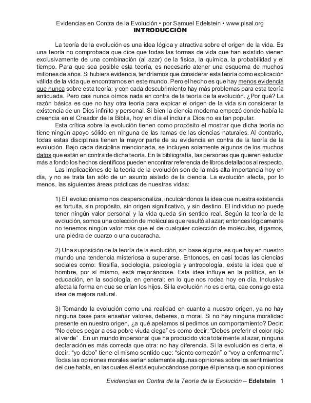 Evidencias en Contra de la Evolución • por Samuel Edelstein • www.plsal.org                                   INTRODUCCIÓN...