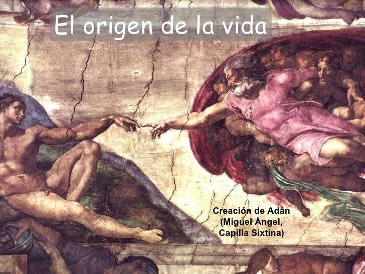 El origen de la vida Creación de Adán (Miguel Ángel, Capilla Sixtina)