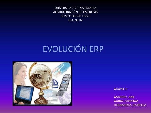 UNIVERSIDAD NUEVA ESPARTA ADMINISTRACIÓN DE EMPRESAS COMPUTACION 056-B GRUPO-02 EVOLUCIÓN ERP GRUPO 2: GARRIDO, JOSE GUIDO...