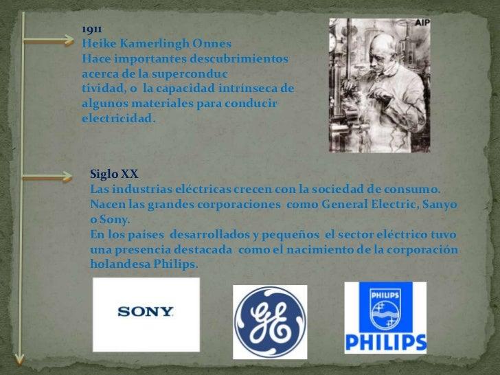 Siglo XX<br />Las industrias eléctricas crecen con la sociedad de consumo. Nacen las grandes corporaciones  como General E...
