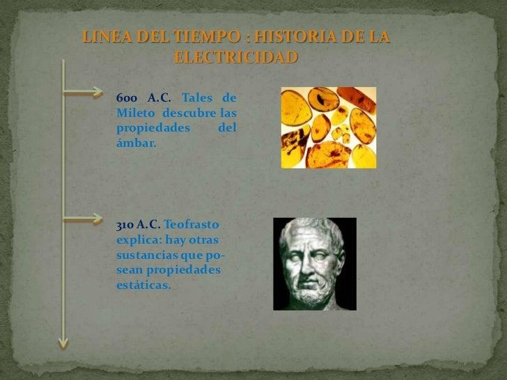 LINEA DEL TIEMPO : HISTORIA DE LA ELECTRICIDAD<br />600 A.C. Tales de Mileto  descubre las propiedades del ámbar.<br />310...