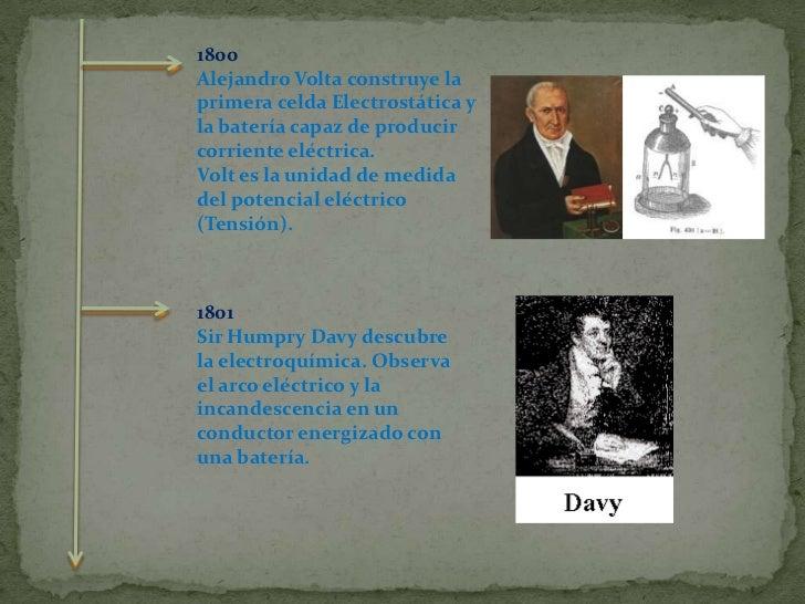 1800<br />Alejandro Volta construye la primera celda Electrostática y la batería capaz de producir corriente eléctrica. <b...