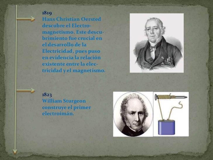 1819  <br />Hans Christian Oersted descubre el Electro-<br />magnetismo. Este descu-<br />brimiento fue crucial en el des...