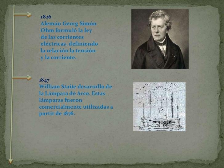 1826<br />Alemán Georg Simón Ohm formuló la ley de las corrientes eléctricas, definiendo la relación la tensión y la corri...