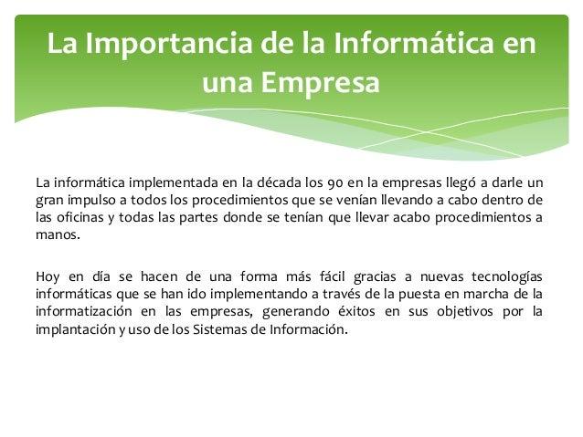 Evolucion de la informatica y su importancia en la empresa for Importancia de la oficina dentro de la empresa wikipedia