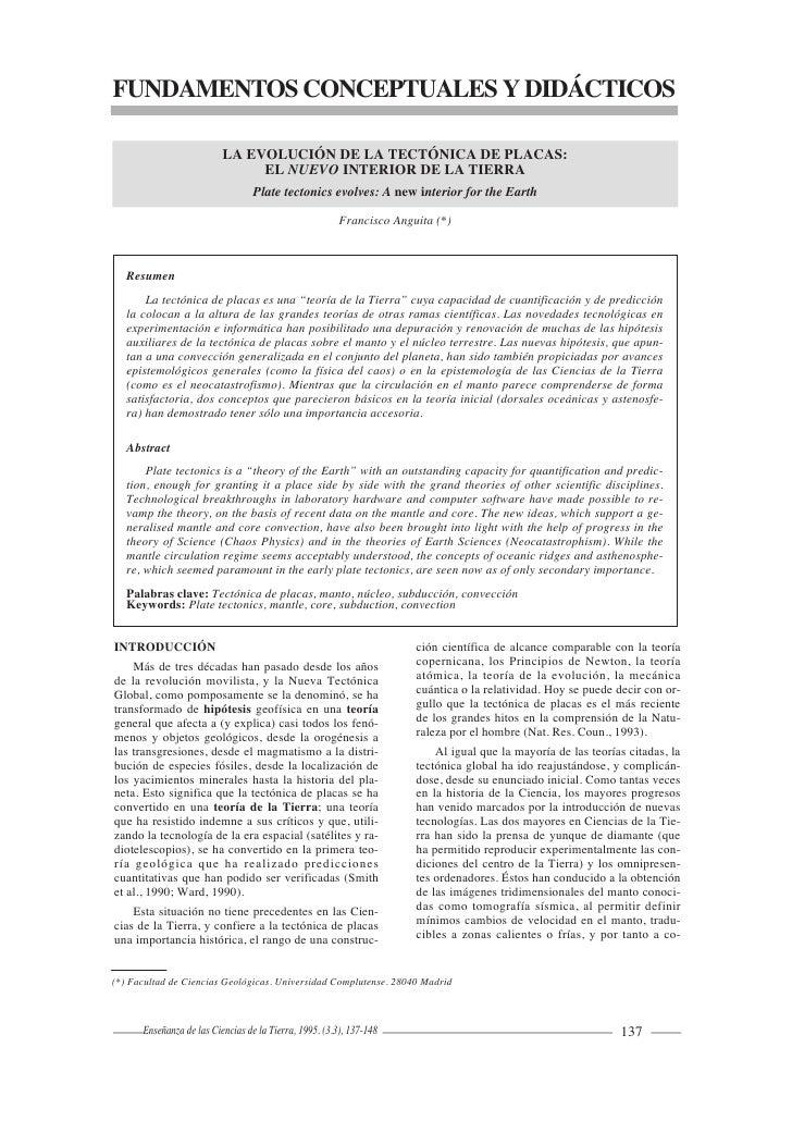 FUNDAMENTOS CONCEPTUALES Y DIDÁCTICOS                            LA EVOLUCIÓN DE LA TECTÓNICA DE PLACAS:                  ...