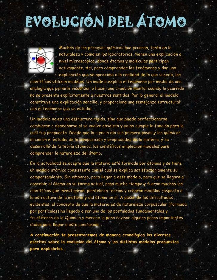 EVOLUCIÓN DEL ÁTOMO              Muchos de los procesos químicos que ocurren, tanto en la              naturaleza v como e...