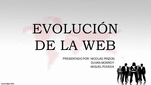 EVOLUCIÓN DE LA WEB PRESENTADO POR: NICOLAS PINZON DUVAN MONROY MIGUEL POVEDA