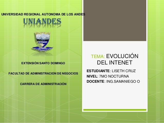 UNIVERSIDAD REGIONAL AUTONOMA DE LOS ANDES  UNIANDES  TEMA: EVOLUCIÓN EXTENSIÓN SANTO DOMINGO  FACULTAD DE ADMINISTRACION ...