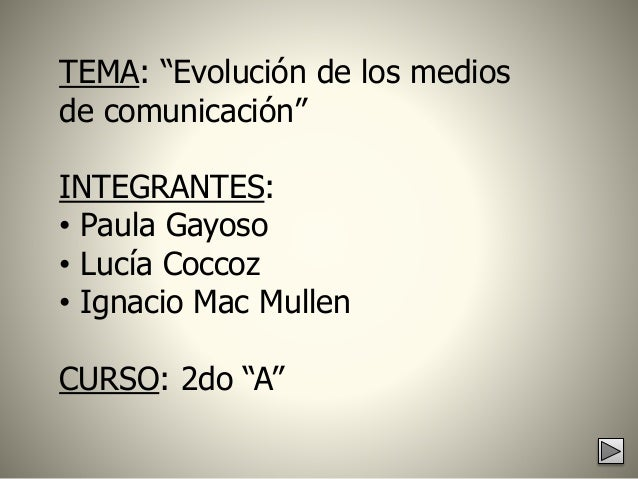 "TEMA: ""Evolución de los medios de comunicación"" INTEGRANTES: • Paula Gayoso • Lucía Coccoz • Ignacio Mac Mullen CURSO: 2do..."