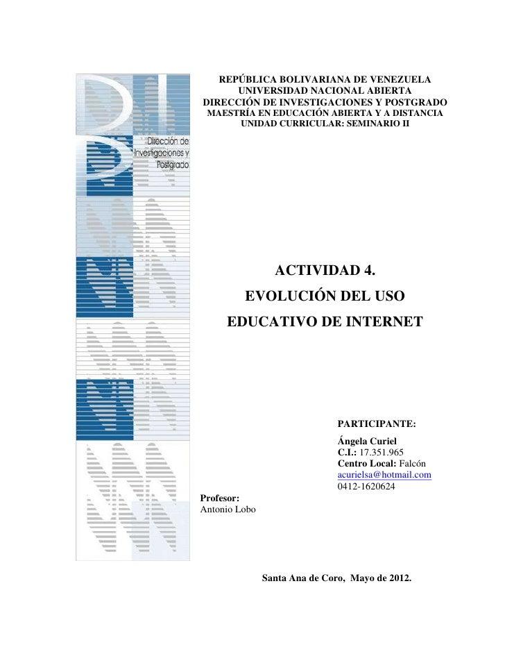 REPÚBLICA BOLIVARIANA DE VENEZUELA      UNIVERSIDAD NACIONAL ABIERTADIRECCIÓN DE INVESTIGACIONES Y POSTGRADO MAESTRÍA EN E...