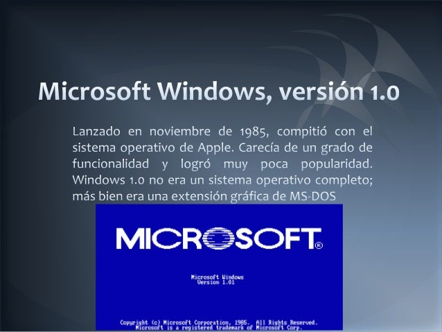 Evolucion de windows