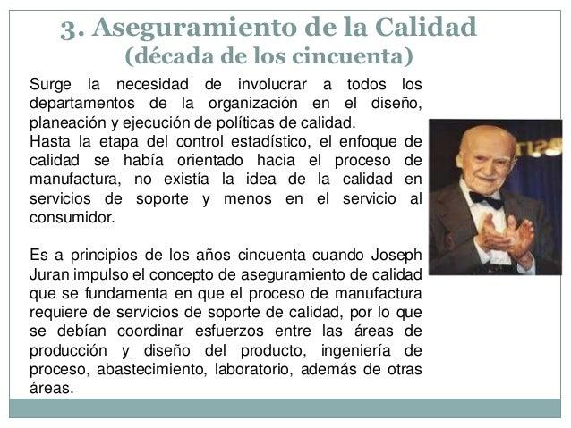 3. Aseguramiento de la Calidad (década de los cincuenta) Surge la necesidad de involucrar a todos los departamentos de la ...