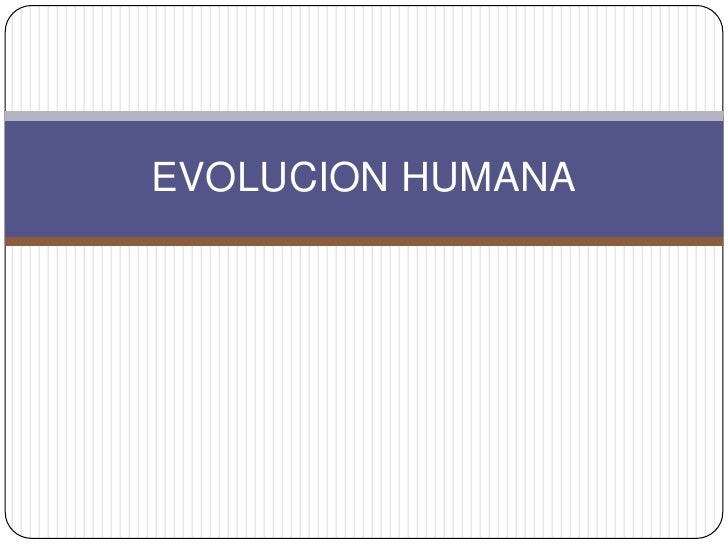 EVOLUCION HUMANA<br />