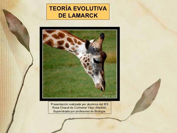 TEORÍA EVOLUTIVA DE LAMARCK Presentación realizada por alumnos del IES Rosa Chacel de Colmenar Viejo (Madrid). Supervisada...