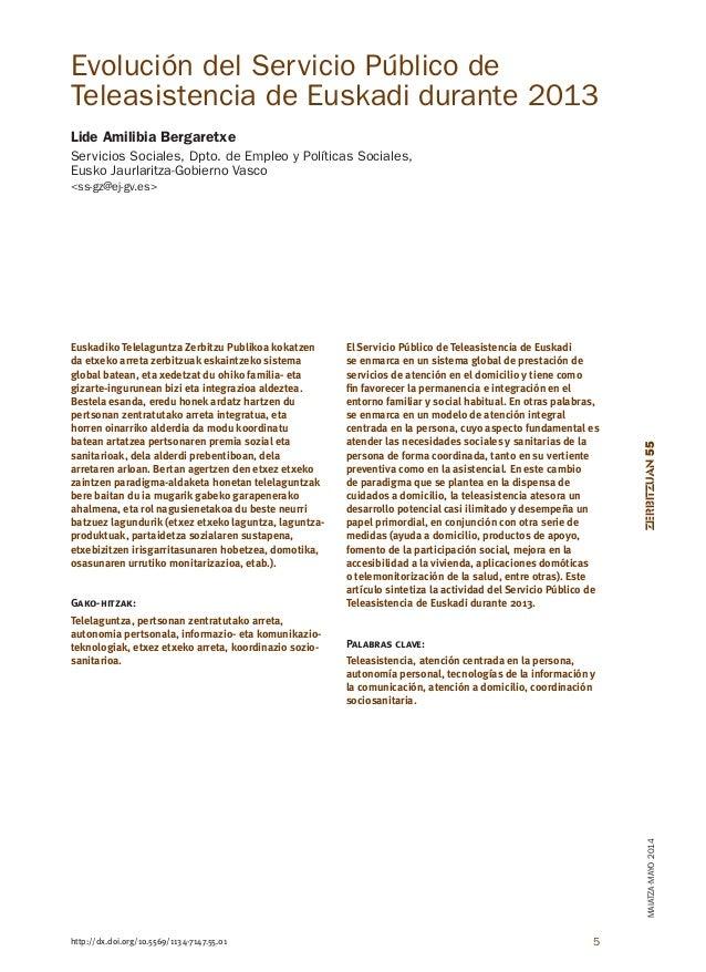 ZERBITZUAN55MAIATZA·MAYO2014 5http://dx.doi.org/10.5569/1134-7147.55.01 Evolución del Servicio Público de Teleasistencia d...