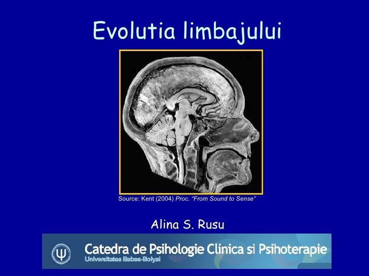 "Evolutia limbajului Alina S. Rusu Source: Kent (2004)  Proc. ""From Sound to Sense"""