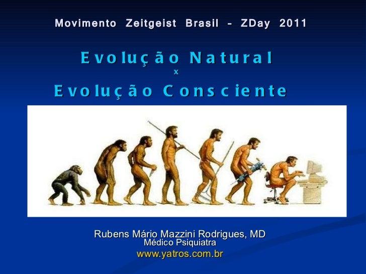 Movimento Zeitgeist Brasil – ZDay 2011 Rubens Mário Mazzini Rodrigues, MD Médico Psiquiatra www.yatros.com.br Evolução Nat...