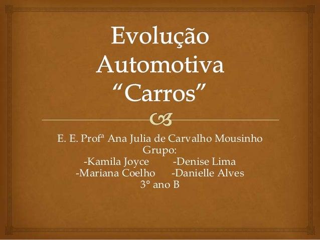 E. E. Profª Ana Julia de Carvalho Mousinho Grupo: -Kamila Joyce -Denise Lima -Mariana Coelho -Danielle Alves 3° ano B
