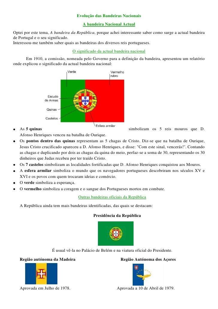 Evolução das Bandeiras Nacionais<br />A bandeira Nacional Actual<br />Optei por este tema, A bandeira da República, porque...