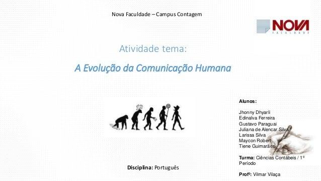 Atividade tema: A Evolução da Comunicação Humana Nova Faculdade – Campus Contagem Disciplina: Português Alunos: Jhonny Dhy...