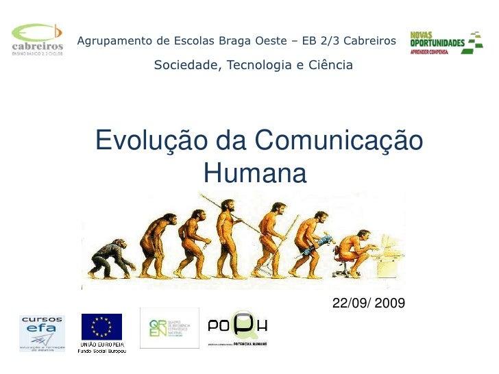 Agrupamento de Escolas Braga Oeste – EB 2/3 Cabreiros<br />         Sociedade, Tecnologia e Ciência<br /> Evolução da Comu...