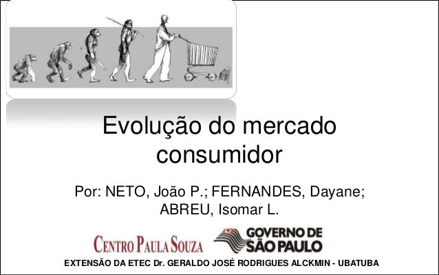 Evolução do mercado            consumidor Por: NETO, João P.; FERNANDES, Dayane;             ABREU, Isomar L.EXTENSÃO DA E...