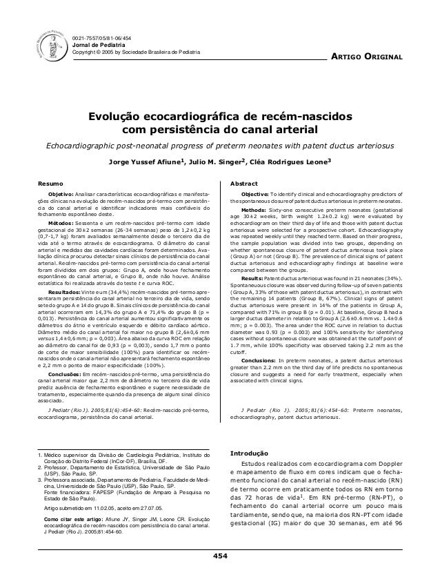 454 Abstract Objective: To identify clinical and echocardiography predictors of the spontaneous closure of patent ductus a...