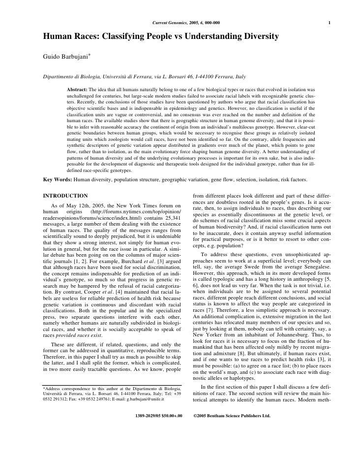 Current Genomics, 2005, 6, 000-000                                                  1   Human Races: Classifying People vs...