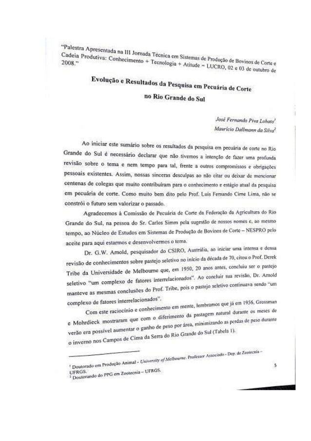 Evolução e resultados da pesquisa em pecuária de corte no rs