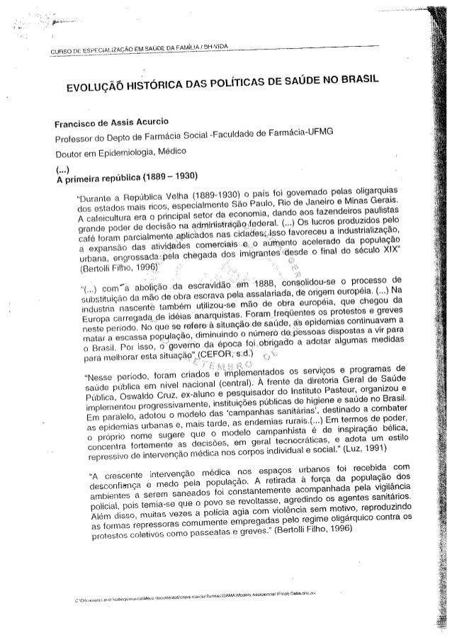 Evolução historica das politicas de saude no brasil