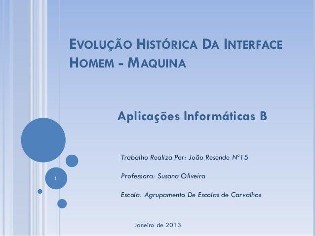 EVOLUÇÃO HISTÓRICA DA INTERFACE    HOMEM - MAQUINA          Aplicações Informáticas B           Trabalho Realiza Por: João...