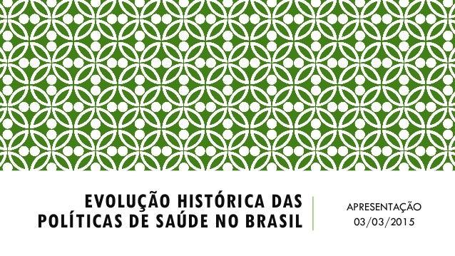 EVOLUÇÃO HISTÓRICA DAS POLÍTICAS DE SAÚDE NO BRASIL APRESENTAÇÃO 03/03/2015