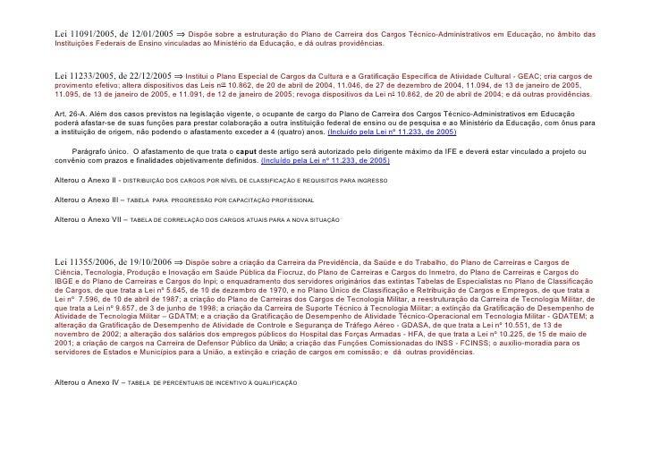 Lei 11091/2005, de 12/01/2005 ⇒ Dispõe sobre a estruturação do Plano de Carreira dos Cargos Técnico-Administrativos em Edu...