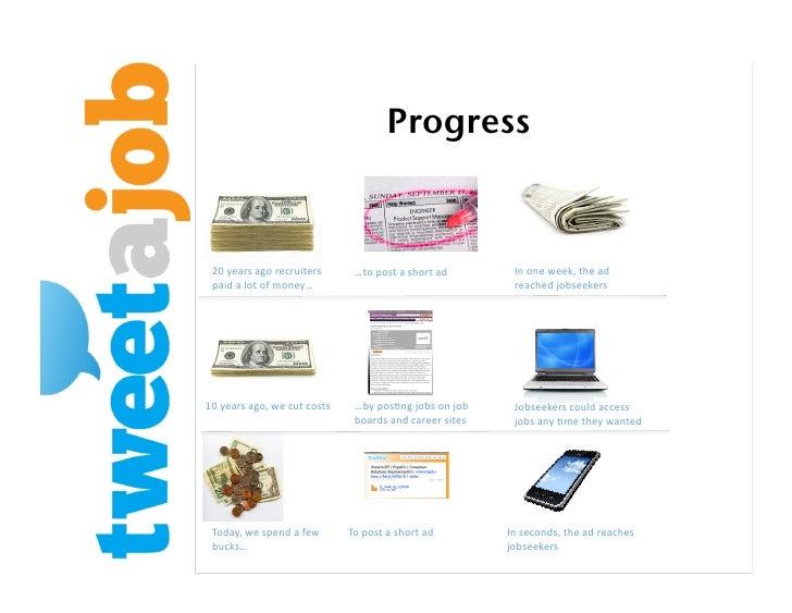 Progress!    20yearsagorecruiters      …topostashortad        Inoneweek,thead  paidalotofmoney…        ...