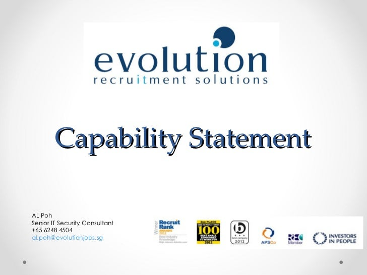 Capability StatementAL PohSenior IT Security Consultant+65 6248 4504al.poh@evolutionjobs.sg