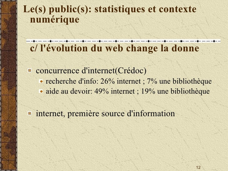 Le(s) public(s): statistiques et contexte numérique c/ l'évolution du web change la donne <ul><li>concurrence d'internet(C...