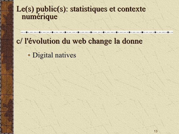 <ul><li>Digital natives </li></ul>Le(s) public(s): statistiques et contexte numérique c/ l'évolution du web change la donne