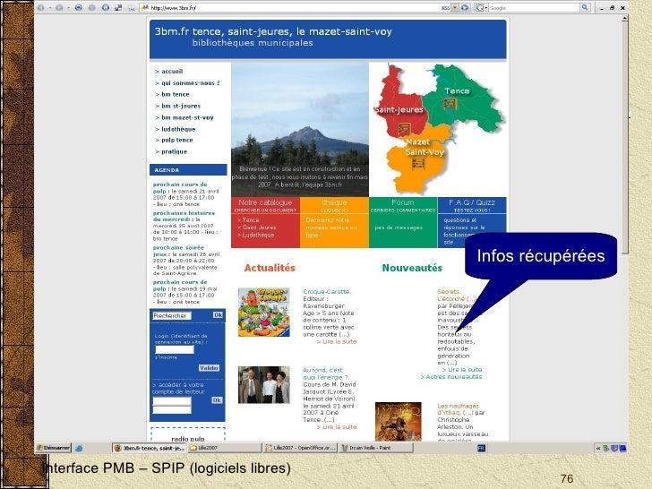 Interface PMB – SPIP (logiciels libres) Infos récupérées