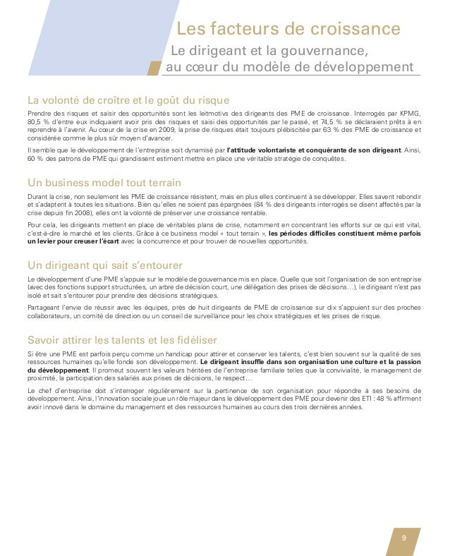 Les facteurs de croissance                                                         Le dirigeant et la gouvernance,        ...