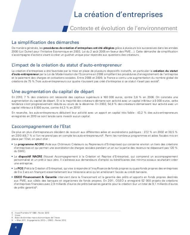 La création d'entreprises                                                                     Contexte et évolution de l'e...
