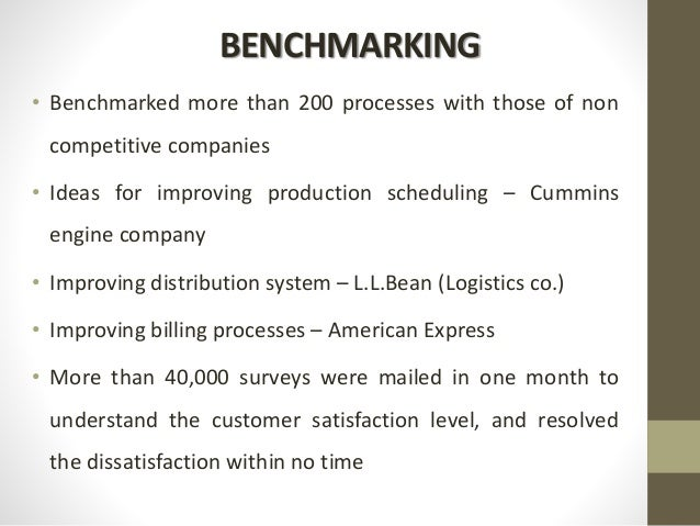 BENCHMARKING • Benchmarked more than 200 processes with those of non competitive companies • Ideas for improving productio...