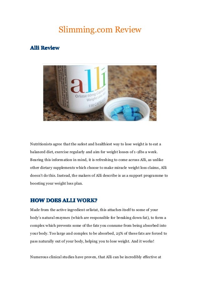 Alli losing weight reviews