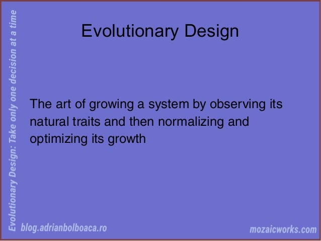 Evolutionary Design: Take Only One Decision at a Time Slide 3