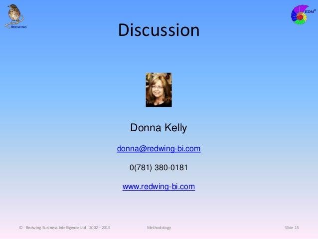 Discussion © Redwing Business Intelligence Ltd 2002 - 2015 Methodology Slide 15 Donna Kelly donna@redwing-bi.com 0(781) 38...
