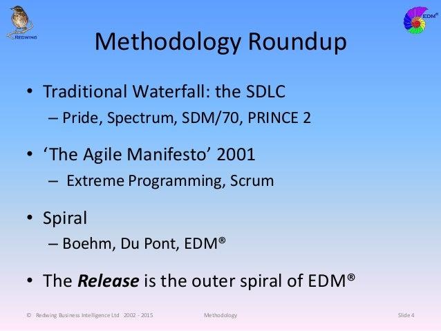 Methodology Roundup • Traditional Waterfall: the SDLC – Pride, Spectrum, SDM/70, PRINCE 2 • 'The Agile Manifesto' 2001 – E...