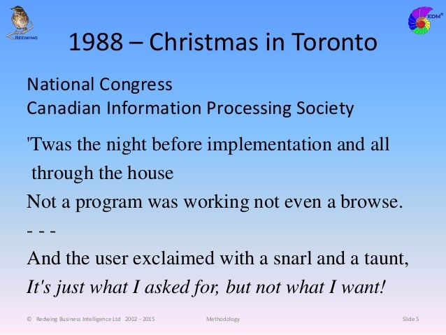 1988 – Christmas in Toronto National Congress Canadian Information Processing Society 'Twas the night before implementatio...