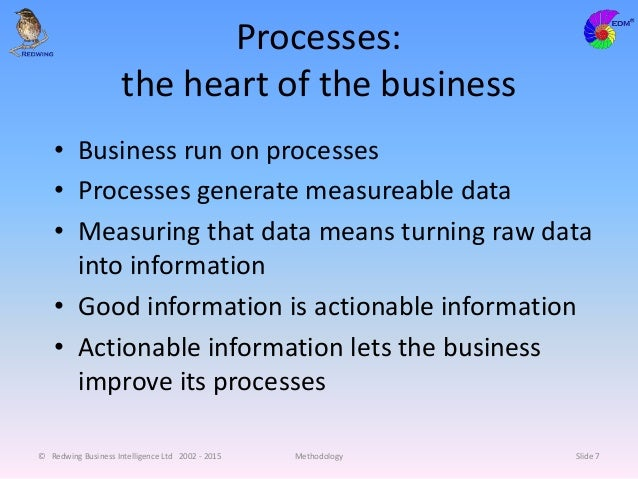 Processes: the heart of the business • Business run on processes • Processes generate measureable data • Measuring that da...
