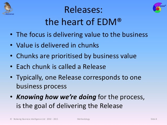 Releases: the heart of EDM® • The focus is delivering value to the business • Value is delivered in chunks • Chunks are pr...